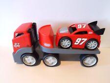 Little Tikes Red Racing Hauler Semi Rugged Big Rig Trailer Sports Car Truck