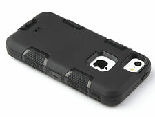 LUXURY BLACK SHOCKPROOF HYBRID PROTECTION HARD BACK CASE COVER IPHONE 4 4S