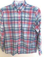 Vineyard Vines Light Blue Plaid Long Sleeve Button Down Whale Shirt Boys M 12 14