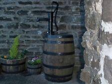 40 gallon oak barrel water butt & working hand pump and painted bands
