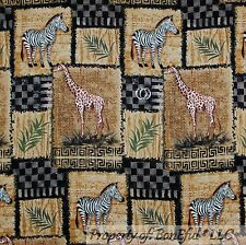 BonEful Fabric FQ Cotton Quilt Black Brown African Zebra Giraffe Patchwork Block