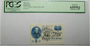 1863 PCGS 65PPQ GEM NEW, N.W. EDSON, SOMERVILLE, MA OBSOLETE BANKNOTE - 6EC