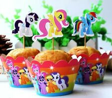 48 Pcs, 24 My Little Pony Cupcake Wrappers & 24 Toppers Kids B-day Party Supply