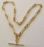 GENUINE  9K  9ct  SOLID YELLOW  GOLD  ALBERT  CHAIN  FOB  NECKLACE  WITH  T-BAR