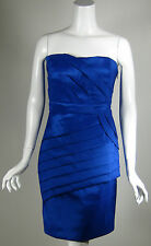 MAX AND CLEO Blue Metallic Satin Strapless Dress Size 8