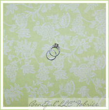 BonEful Fabric FQ Cotton Quilt VTG Girl Lime Light Green White Flower Rose Toile
