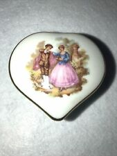 Vintage Limoges Heart Shaped Trinket Box Colonial Man &Woman On The Front Tiny