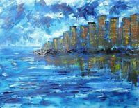 ORIGINAL PAINTING by MIKOL MERLIN Colorful Abstract CITYSCAPE Modern Art Signed