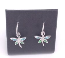 Dragonfly Earrings Sterling Silver with Peridot and Blue Topaz