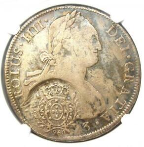 1808 Brazil 960R Counterstamp C/S Minas Gerais on Bolivia 8 Reales 8R - NGC VF