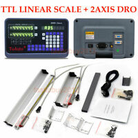 2 Axis Digital Readout TTL Linear Glass Scale Milling Lathe Position Measuring