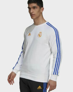 Real Madrid Adidas pullover 2021 22 HOMME Sweat top Crew blanc Coton Brossé