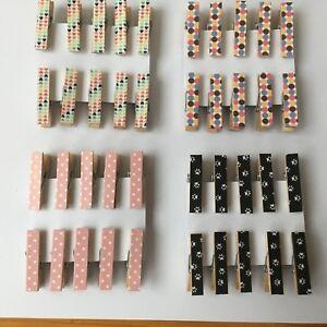 Handmade 10 x mini wooden Peg Magnets Magnetic Peg shabby chic fridge magnet