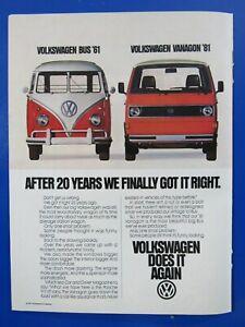 "1981 Volkswagen Vanagon Bus We Finally Got It Right Original Print Ad 8.5 x 11"""