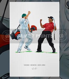 Tiger Woods 2005 Masters Augusta Georgia Illustrated Print Poster Art