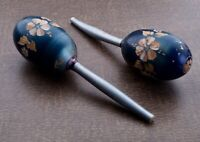 Pair of Mexican Maracas Wooden Percussion Traditional Hand Painted