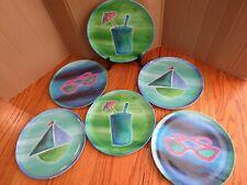 New listing Citrus Grove Dinner Plates Set of 6 Casual Dinnerware Melamine Beach Pool Patio