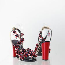Tory Burch Women's Shoes Red Blue Beaded Raffia High Heels Size 5.5 M New $395