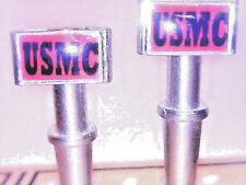 """2- U.S.Marine, """"USMC"""", Metal Cribbage Board Pegs With Black Velvet Pouch USA  a"""