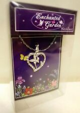 Enchanted Fairy Garden sparkly bling diamante heart Pendant Necklace Gift boxed