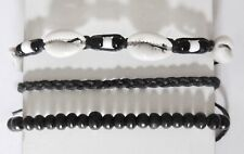 3 x  BRACELET BLACK CORD HEMP SHELL BRAID ANKLET WRISTBAND FRIENDSHIP mens women