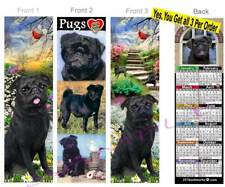 3 Set-Pug 2019 Calendar Bookmark Dog Pugs Puggles Black Mix Card Perfect Gift