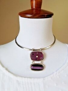 Vintage Purple Glass Necklace Earrings Set Hinged Clear Light Purple Crystals