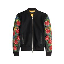 Dsquared2 Bomber Jacket Leather & Wool Floral Embroidered  - EU52/42 - £1740 New