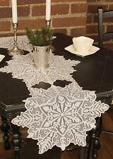 "Table Runner 65""  - Silver Snowflake in Gray by Heritage Lace - Christmas Winter"