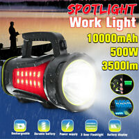500W LED Handheld Spotlight Rechargeable Camping Outdoor Flashlight Torch Spot