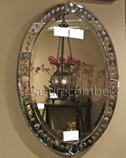 "Grecian Frameless Venetian Style Oval Wall Mirror Large 34"""