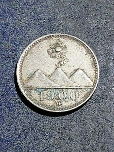 1900 H GUATEMALA 1/4 REAL OLD VINTAGE LATIN AMERICA COIN #July34