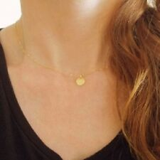 Tiny Coin Drop Necklace Choker Dainty Chain One Simple Disc Gold