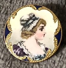 Antique Victorian Estate Hand Painted Enamel Portrait Pin Gold Filled & Gilding