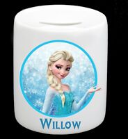 Personalised Name Frozen Money Box Piggy Bank  Girl Birthday Christmas Present