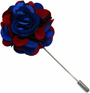 Bassin and Brown Mens Floral Lapel Pin - Blue/Wine