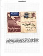 1936 Hindenburg 3rd North American Flight on Olympic Card Remagen to Brooklyn
