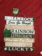 "St Patrick's Day Inspirational Words Decor Hanging Sign Wall 11.5"" X 10.25"""