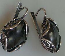 New Fashion filigree  black crystals Earrings made in Russia large 20 by 14 mm