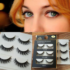 3 Pairs Black 100% Real Mink Natural Cross Long Thick Eye Lashes False Eyelashes