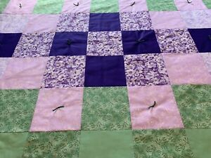 """Handmade Handcrafted Green Purple Lilac Quilt Throw Lap Chair Blanket 52"""" x 41"""""""
