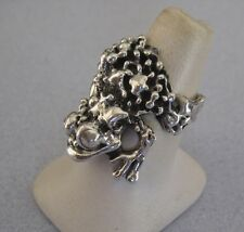 Huge FROG TOAD Lucky 925 Sterling Silver Taxco Animal Good Luck Big Ring Sz 8.25