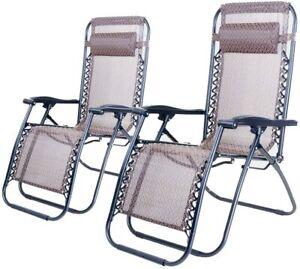 Zero Gravity Garden Relaxer Chair Recliner Garden Sun Lounger Chairs Set Of 2