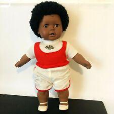 "Vintage Gotz African American BOY Doll Afro Hair West Germany Vinyl/Cloth 16"""