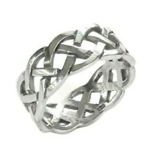925 Solid Sterling Silver Celtic Heavy Weave Men's Ring Size 8-13