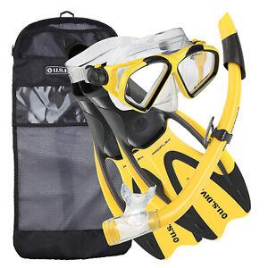 U.S. Divers Snorkel Set w/ Med/L Fins, Mask, Snorkel, & Bag, Yellow (Open Box)