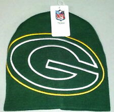 GREEN BAY PACKERS KNIT BEANIE HAT NFL CUFFLESS LARGER HYPE LOGO TOQUE NWT