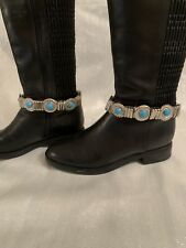 Decorative Silver and Leather Boot Ankle Straps With Turquoise Stones