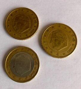 3 MONETE BELGIO 1999 50 CENTESIMI CON ERRORE DI CONIO 1 EURO