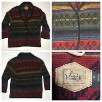 Woolrich Southwest Aztec Wool Coat Shawl Collar Jacket Womens Size Medium USA